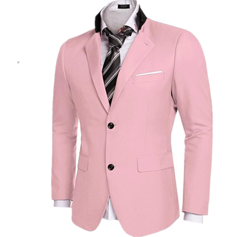 Fashion Men Business Casual Slim Fit One Button Cotton Suit Blazer Coat  Jacket Male Pure Color 009 2c72f4e63e