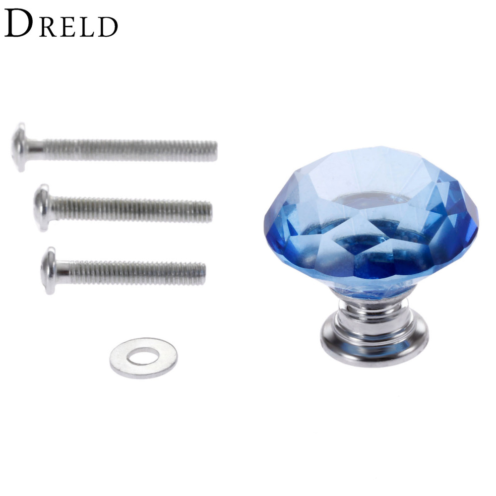 DRELD 1Pc 30mm Diamond Crystal Glass Drawer Pulls Door Cabinet Wardrobe Pull Knobs Blue Furniture Handles + 3Pcs Screws 10 pcs 30mm diamond shape crystal glass drawer cabinet knobs and pull handles kitchen door wardrobe hardware accessories
