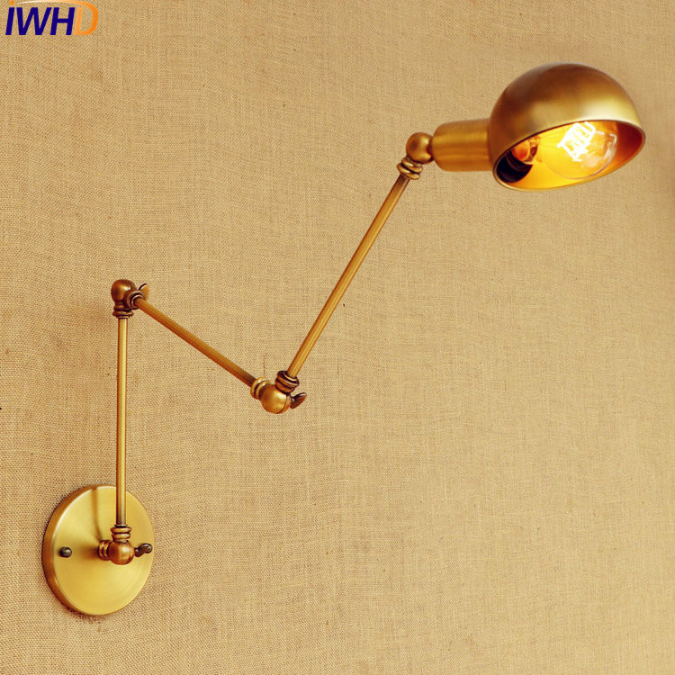 IWHD Gold Swing Long Arm Wall Lamp Vintage Edison Retro Loft Industrial Wall Lights Sconce Appliques Murale Lampara Pared iwhd loft style industrial wall lamp vintage swing long arm wall light indoor home lighting edison sconce lampara pared