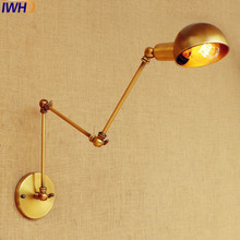 IWHD Gold Swing Long Arm Wall Lamp Vintage Edison Retro Loft Industrial Wall Lights Sconce Appliques Murale Lampara Pared golden retro vintage wall lamp with 2 lights for home adjustable arm industrial loft edison wall sconce arandela wandlamp