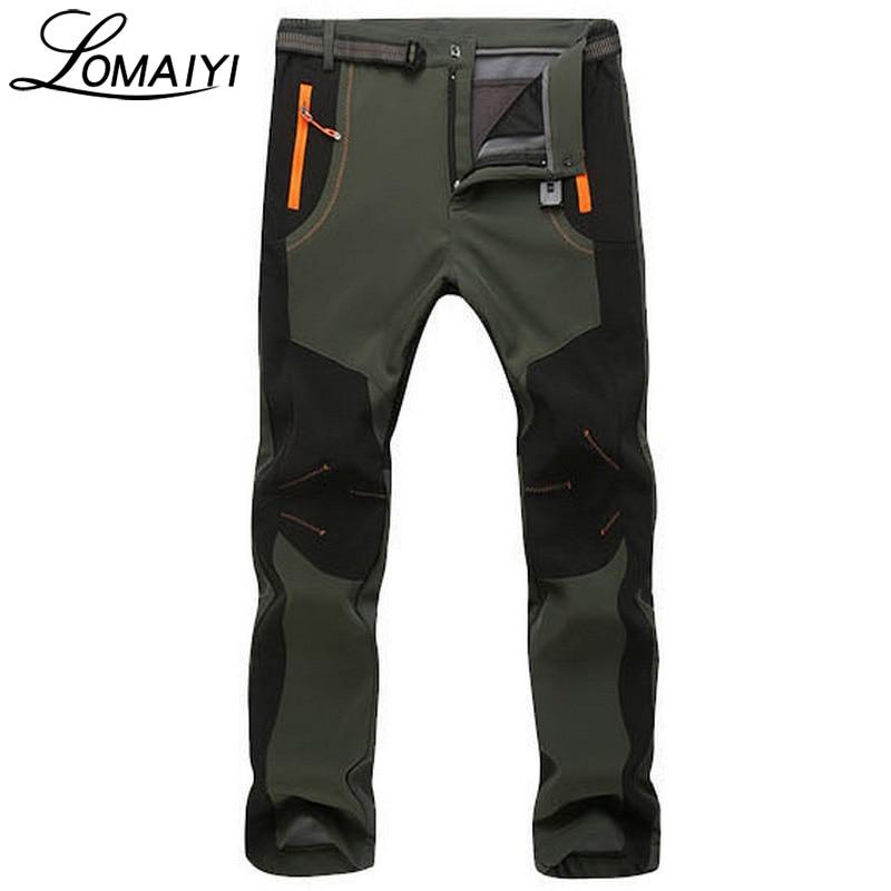 2017 Winter Warm Men Pants Casual Warm Thick Windproof Waterproof Trousers Men S Army Green Fleece