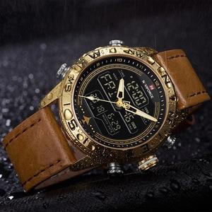 Image 3 - NAVIFORCE 9144 moda złoto mężczyźni Sport zegarki męskie LED zegarek analogowo cyfrowy armia skórzany wojskowy zegarek kwarcowy Relogio Masculino