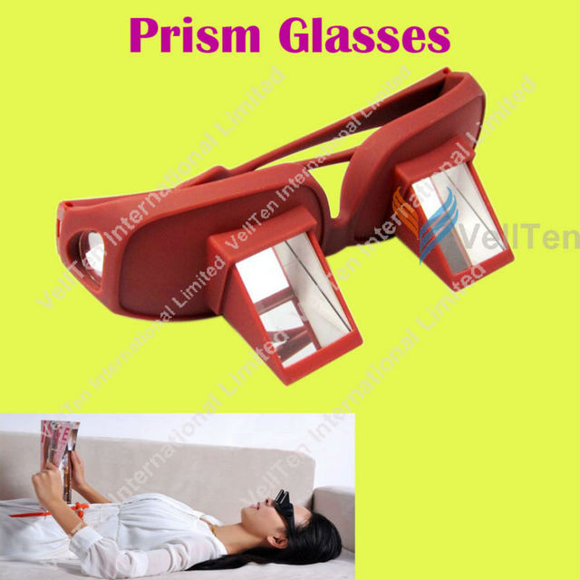 Novelty! Deluxe Prism Glasses, Lazy Glasses, Bed spectacles, Bed Lie Down Periscope, to Patient parents Gift, Red