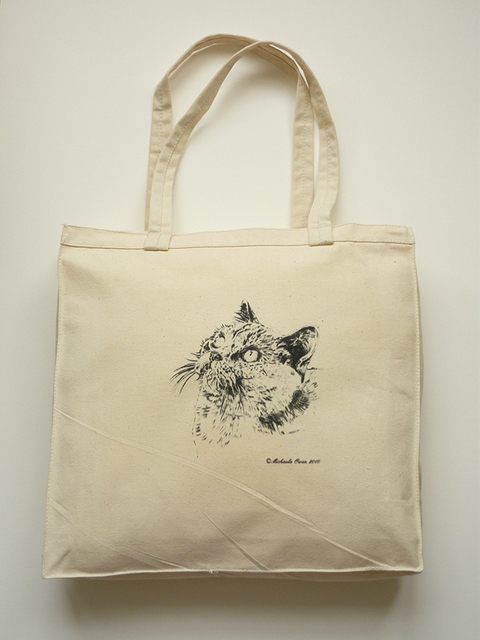 Screen Printed Cat Classical Original Color Cotton Canvas Promotional Ping Bags Customized