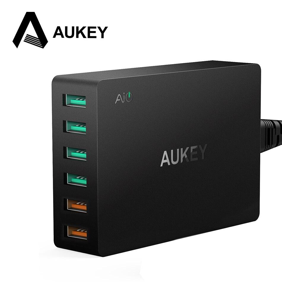 imágenes para AUKEY Multi Cargador Dual USB de Carga Rápida 3.0 Puertos + 4 USB puertos Fast Turbo Cargador de Pared para Samsung LG G5 iPhone iPad y Más PC