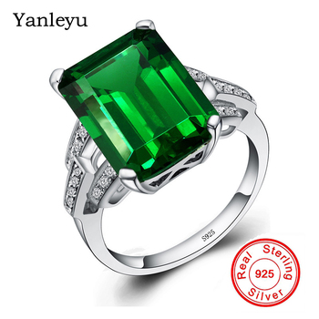 Yanleyu Luxury Big Natural Green Gem Stone Jewelry Real 925 Sterling Silver Wedding Rings for Women Party Accessories PR102