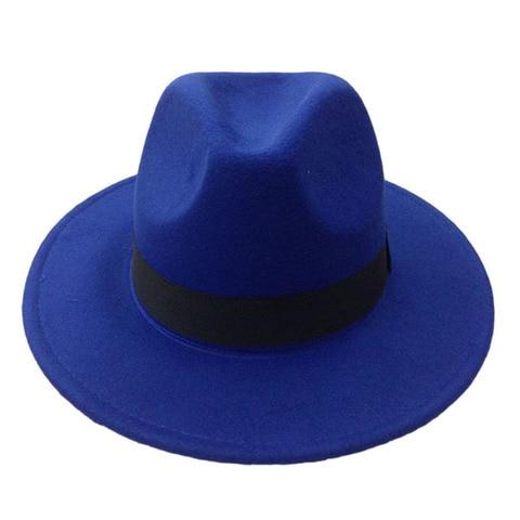 14 Colors Wool Trilby Caps For Men Women Vintage Fedoras Panama Hats With Black Ribbon los sombreros de ala de lana YY0399 Lahore