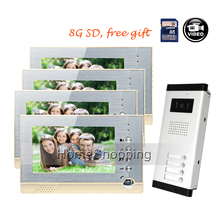 Fress Shipping 7″ Color Screen Video Door Phone Intercom System + 4 Recording Monitors + 1 Doorbell Camera for 4 Family In Stock