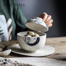 ANTOWALL маленькая супница коммерческое Домашнее использование миска для супа с крышкой керамическая японская посуда на пару яйцо десерт миска