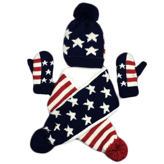a2a5af155a1 Kids Children Knitted Hat Scarf Gloves 3pcs Winter Set For Boys Girls  Snowflake Hats Scarf Gloves Set Baby Warm Caps Collars