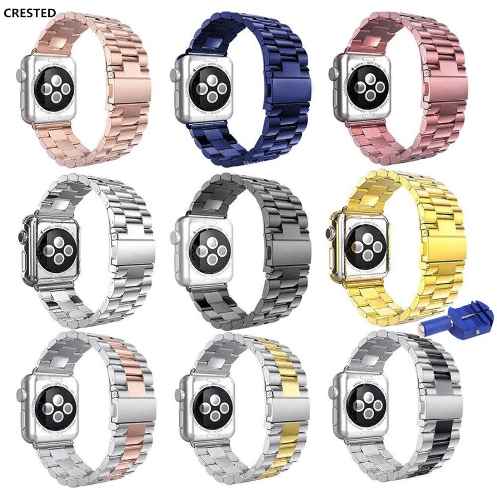 CRESTED edelstahl strap Für Apple uhr band 42mm 38mm iwatch serie 3/2/1 link armband handgelenk bands armband gürtel correa
