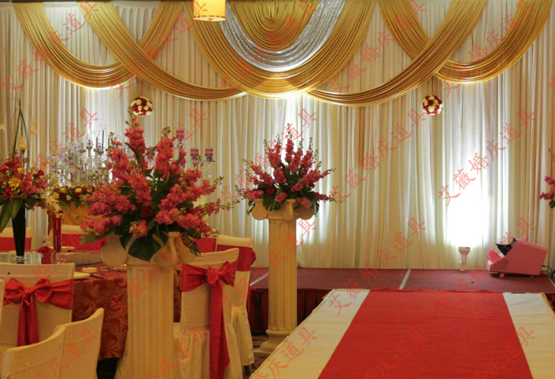 3x6m white and gold wedding backdrop drapes for wedding for Backdrops for stage decoration