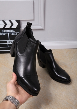Fashion British Style Men's Oxfords Boots Round Toe Square High Heels Mens Cowboy Boot Styles Military Boots Black big size EU46