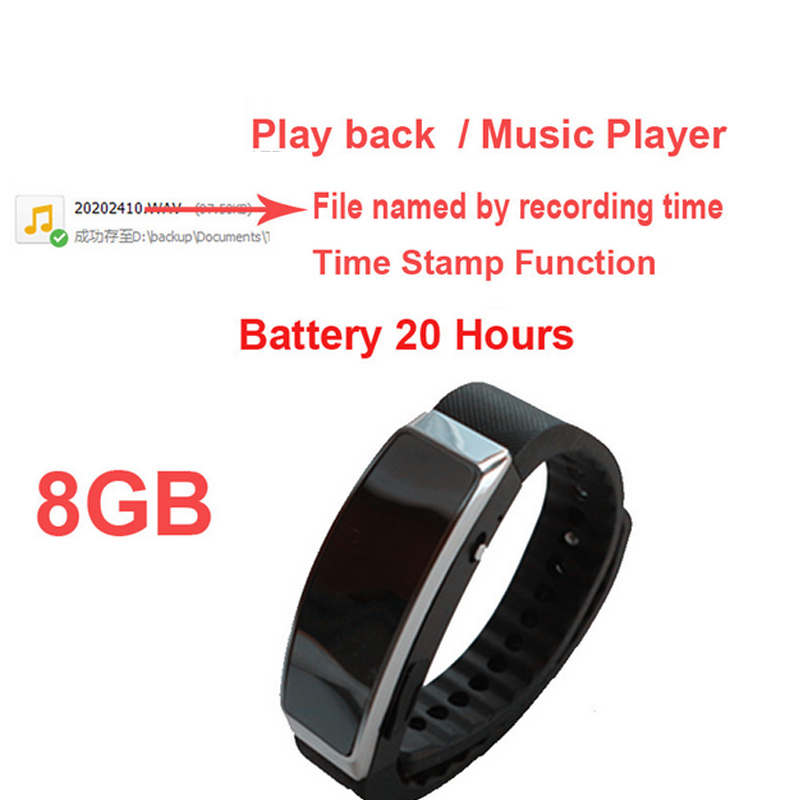 S2 8G music player bracelet style MP3 player w/ voice recorder function time stamp smart bracelet audio recorder audip player