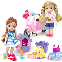 baby dolls toy Fashion doll set with furniture pretend play Mini ice cream car Motorbike for children birthday gifts