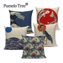Large Linen Hokusai Vintage Folk Japanese Ukiyo Style Car Headrest 45Cmx45Cm Square Home 3D Pillow Case hokusai page 7