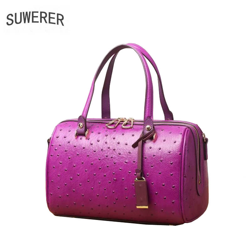 SUWERER 2019 New Superior cowhide women genuine leather bags Embossed ostrich pattern Fashion Boston bag women leather tote bag SUWERER 2019 New Superior cowhide women genuine leather bags Embossed ostrich pattern Fashion Boston bag women leather tote bag