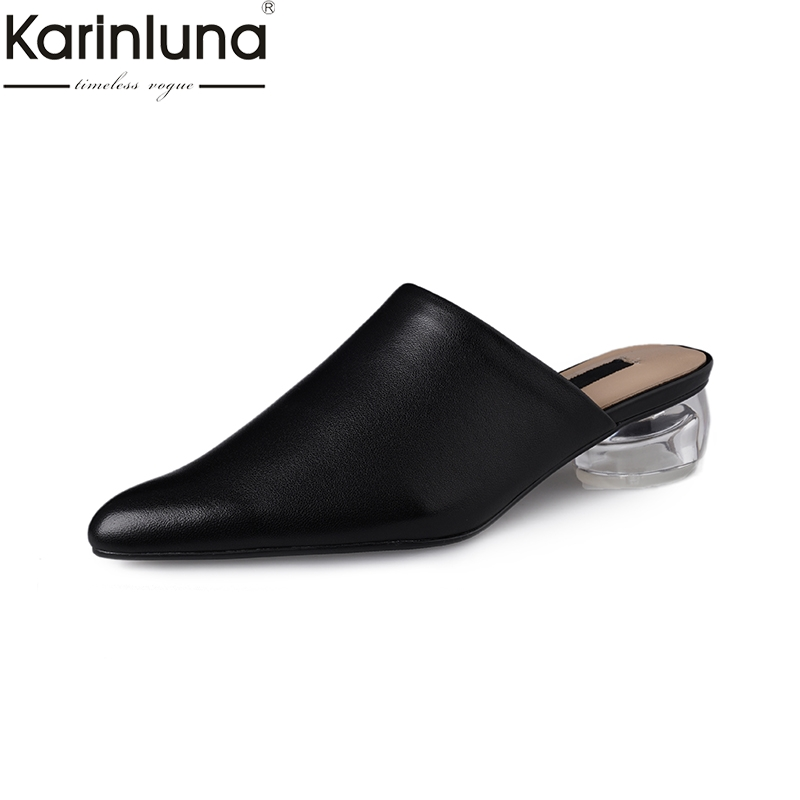 KarinLuna Classics Pointed Toe Genuine Leather Mature Elegant Office Lady Mules women s Shoes 2019 Brand