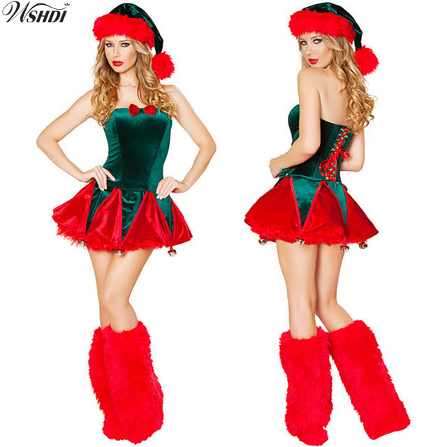 Sexy Green Christmas Tree Female Celebrate Party Dress Women Christmas  Costume Adults Santa Claus Uniform-in Holidays Costumes from Novelty    Special Use on ... da90b22ad091