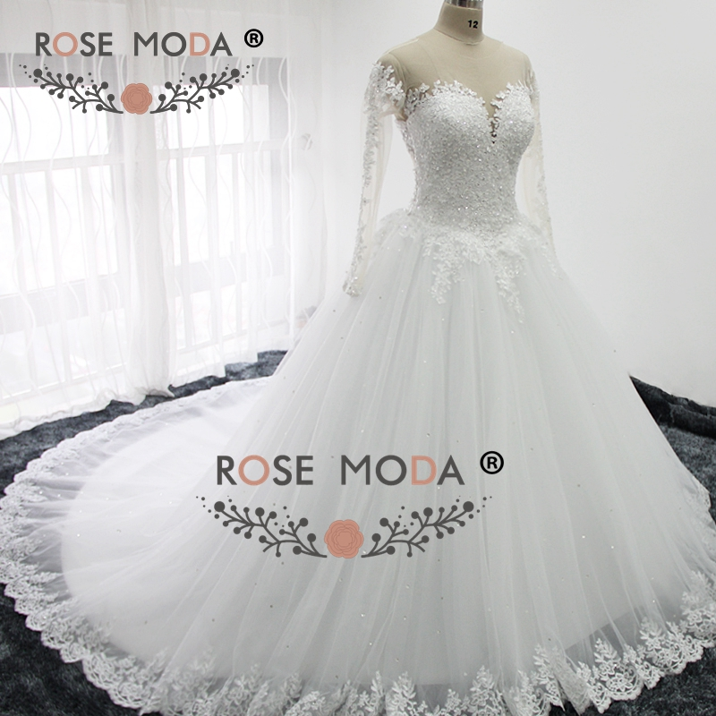 Luxury Illusion Deep Sweetheart Neck Long Sleeves Lace Ball Gown Lace Back  Arabic Wedding Dress Royal Train Vestidos De Noiva In Wedding Dresses From  ...