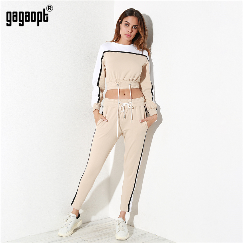 Gagaopt Autumn Winter Tracksuit Set for Women Kakhi Thick and Warm Cotton 2 Pieces Crop Top Long Pant Set ...