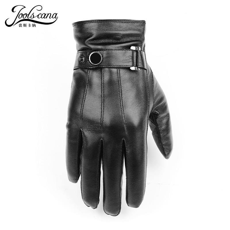 JOOLSCANA gloves natural leather men winter Sensory tactical gloves made of  Italian sheepskin fashion wrist touch screen drive