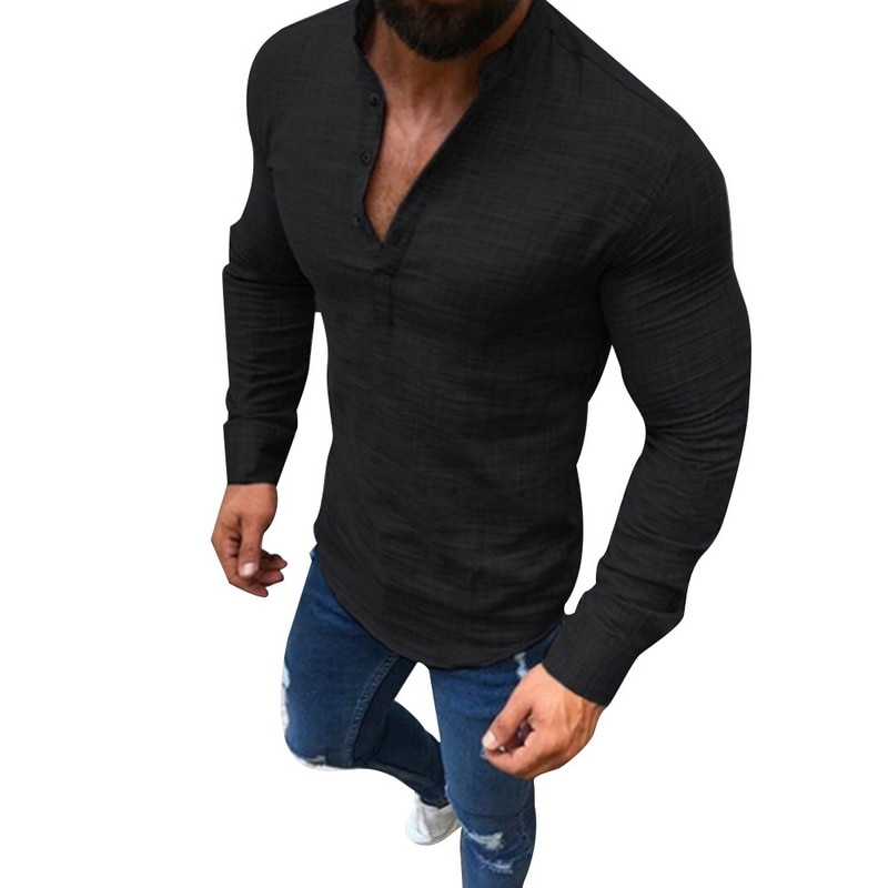 HTB1aLt7XynrK1RjSsziq6xptpXaL - LASPERAL Men Plus Size Linen T-Shirts Fashion Long Sleeve Tee Top Male Streetwear Stand Collar Button Tee Shirts Plus Size 3XL