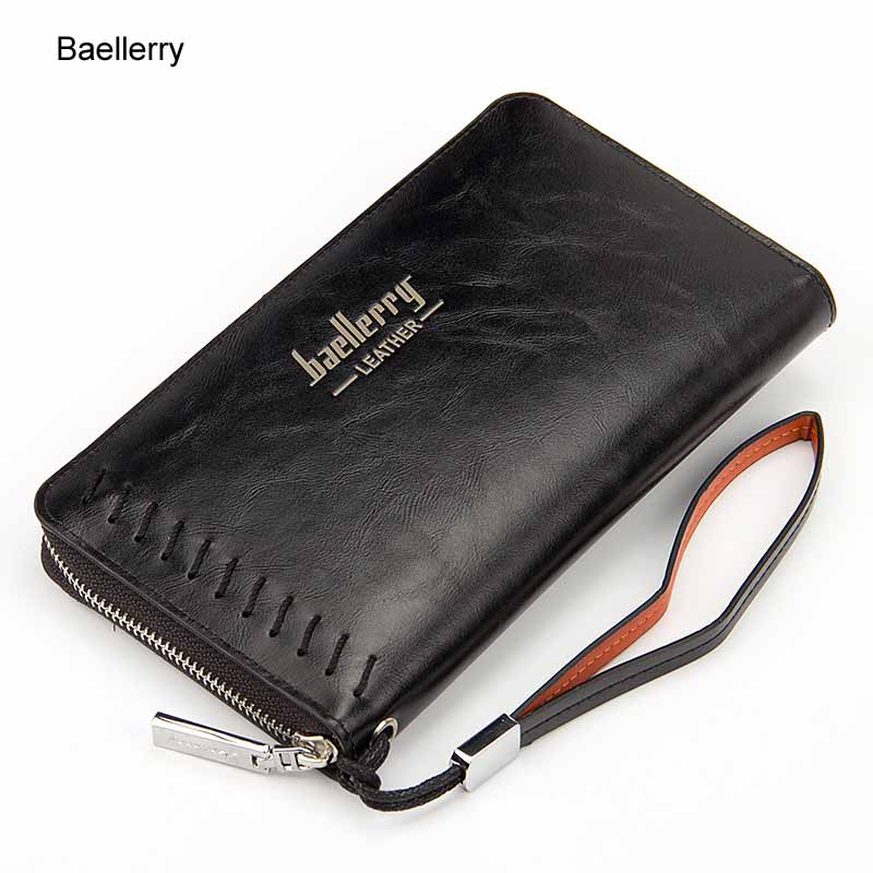 NEW Baellerry brand Men Wallets Fashion Black Long leather Designs Male Clutch With Card Holder Long Zipper Coin Purse fashion new men wallets baellerry brand male zipper purses long design men clutch bag cowhide card holder wallet for business