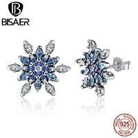 100% Стерлингового Серебра 925 Crystalized Снежинка, синие Кристаллы & Clear CZ Серьги Стержня Для Женщин Подарок Ювелирных Изделий WEUS480