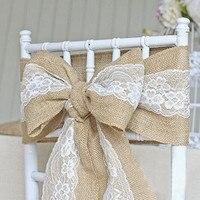 2016 Vintage Wedding Chair Decoration Burlap Lace Ribbon Sashes Lace Ribbon Chair Bows 15x240cm Pcs