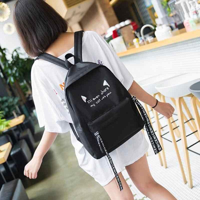 MOJOYCE النساء بسيطة عارضة النايلون سستة الظهر السفر حقيبة التين الفتيات طالب قدرة كبيرة الكتف الحقائب المدرسية