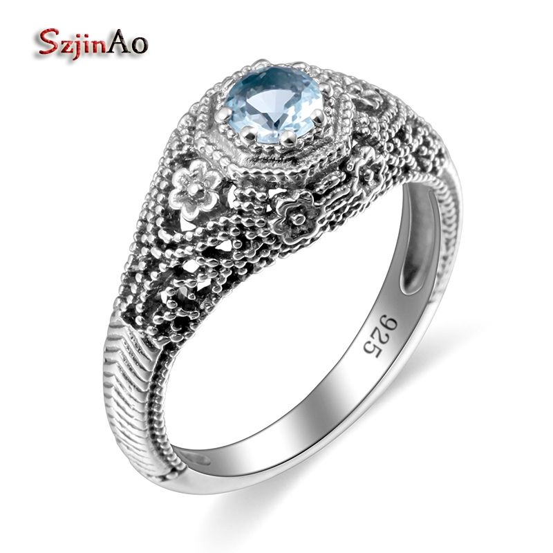 Szjinao Finger Rings For Women Vintage Blue Aquamarine Flower Ring Solid 925 sterling- silver-jewelry Crystal bachelorette party