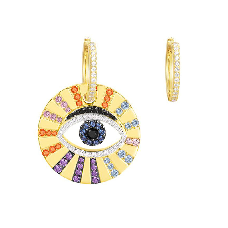 High Quality 925 Sterling Silver Asymmetric Yellow Gold Color Pop Multicolor Zirconia CZ Lucky Eye Earrings