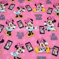 100X140 cm Minnie Cellulare Autoscatto Rosa Tessuto di Cotone Poliestere per I Vestiti Della Ragazza Rivestimenti Quilting Cutain DIY-BK070