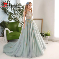 Robe De Mariage 2017 Real Photo New vestido de noiva Lace Appliques Dust Green Ball Gown Puffy Cheap Evening Prom Dresses LIYATT