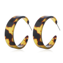 2019 Fashion  Jewelry Acrylic Resin Earrings For Women Geometry Big Circle Tortoiseshell Acetate Brincos