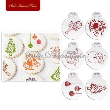 Happy Christmas Gift Bell Cookies Stencil Coffee template Stencils Fondant sugarcraft Cake Decorating Tools Bakeware decorating cookies party