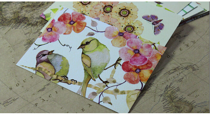 22pcs Hand Painting Birds Card Flowers Fresh Watercolor postcards Wedding Cards