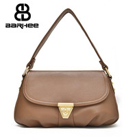 BARHEE High Quality Genuine Leather Women Handbag Shoulder Bags Cowhide Leather Middle Age Ladies Bag Brand Design Hobo pouch