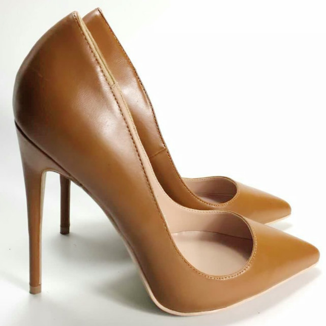 Keshangjia 12cm Brown Soft Patent Leather Zapatos Mujer Women High Heels Pointed Toe Stiletto Women Pumps