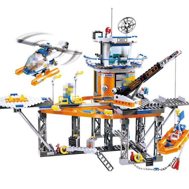 Compatible with Lego City model 02070 492pcs Relax Coast Guard City Platform Figure building blocks Bricks toy for children