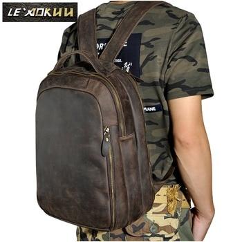 Men Real Leather Fashion Travel Bag University School Book Bag Cowhide Design Male Backpack Daypack Student Bag 621d