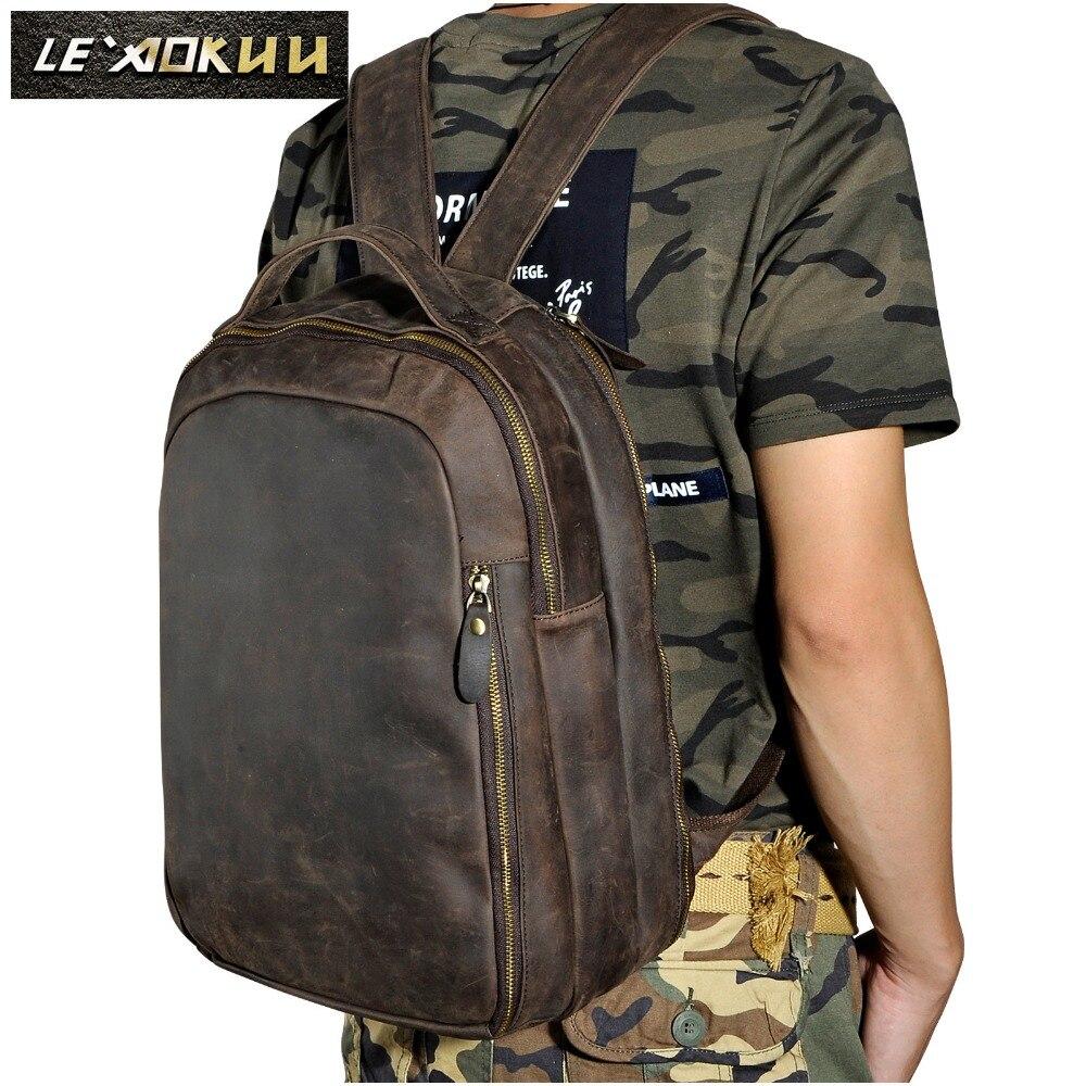 Для мужчин из натуральной кожи Модная дорожная сумка University School Книга сумка коровьей Дизайн мужской рюкзак студент мешок 621d