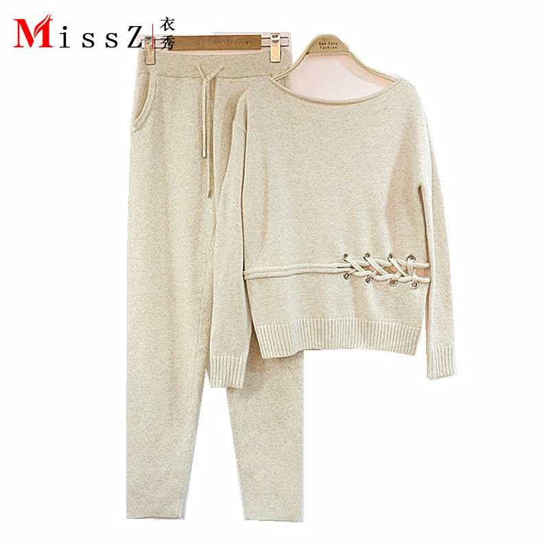 2019 Full Promotion Sale Rushed Wool Women's Cashmere Suit Round Collar Knit Sweater + Casual Pants Fashion Two Pieces Of Women