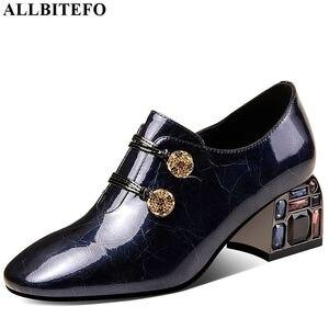 Image 2 - ALLBITEFO zapatos de tacón alto de piel auténtica para mujer, con diamantes de imitación, zapatos de tacón alto, talla 34 42