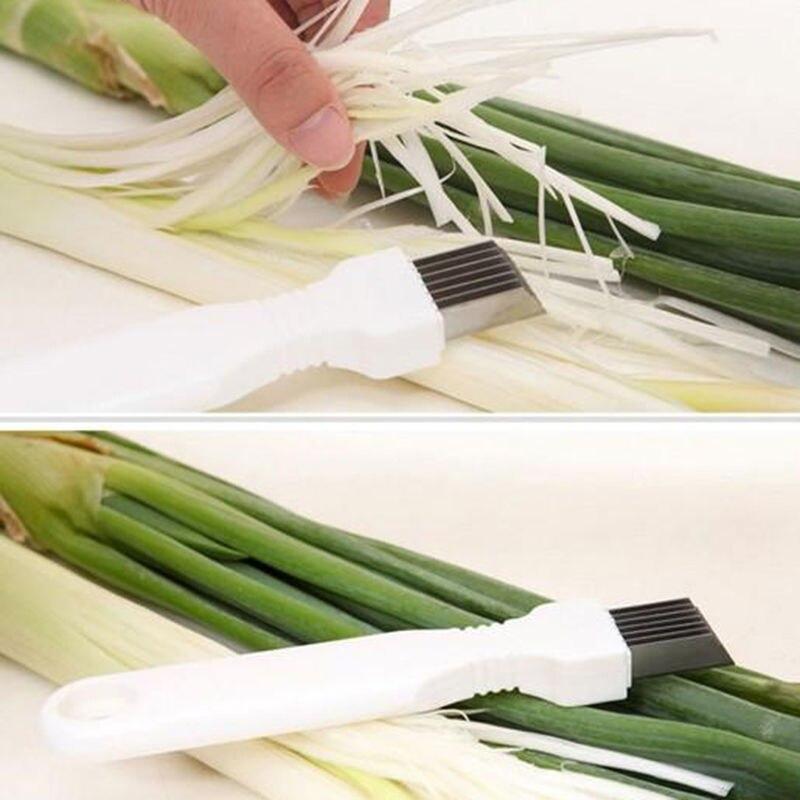 1XHot Stainless Steel Scallion Spring Onion Vegetable Shredder Slicer Cutter