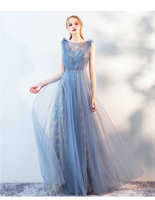 Tulle Evening dress 2019 new year party gown fairy prom dress young lady crystal sashes illusion formal dress Robe De Soiree