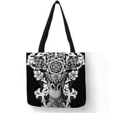 67531c2d91804 بارد تاتو وشم أسود اللون الحيوان طباعة حمل حقائب للنساء الزهور الجمجمة بلدغ  حقائب قابلة