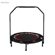 Folding Trampoline Fitness Workout With Adjustable Handrail and Angle Compact and Portable Fitness Equipments Kids Jumping Bed(China)