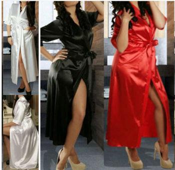 Women Silk Robe 2019 New Ladies Sexy Long Soild 1